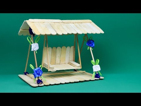 Art and Craft Ideas: How to Make Popsicle Stick Miniature Swing or Jhula | Popsicle Stick Crafts