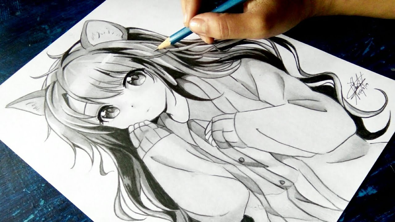 """How to draw Anime """"Neko"""" [Anime Drawing Tutorial for Beginners]"""
