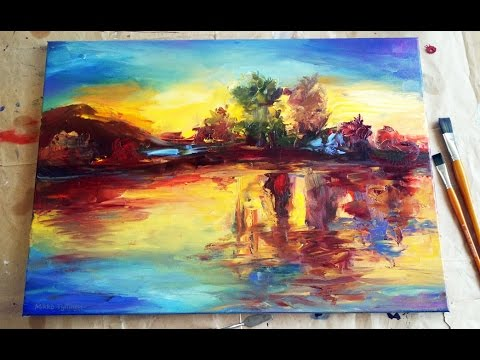 "Landscape Oil Painting Demo ""Late summer sunset"" part 1"