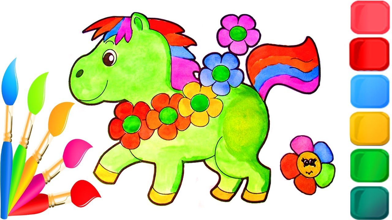 How to Color Baby Animals Cute Horse Coloring Pages for Kids with ...
