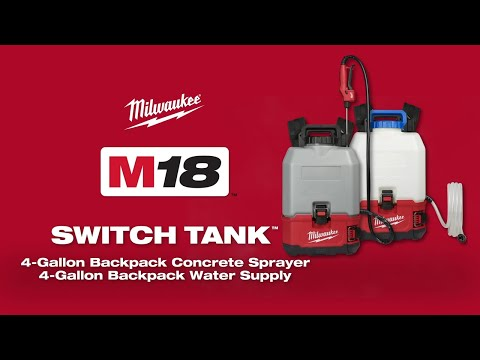 Milwaukee® M18™ SWITCH TANK™ 4-Gallon Backpack Concrete Sprayer and Water Supply