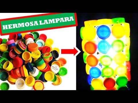 Manualidades como hacer una lampara de tapas reciclaje - Manualidades faciles reciclaje ...