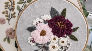 Pink and Burgundy peonies. Hand embroidery for beginners
