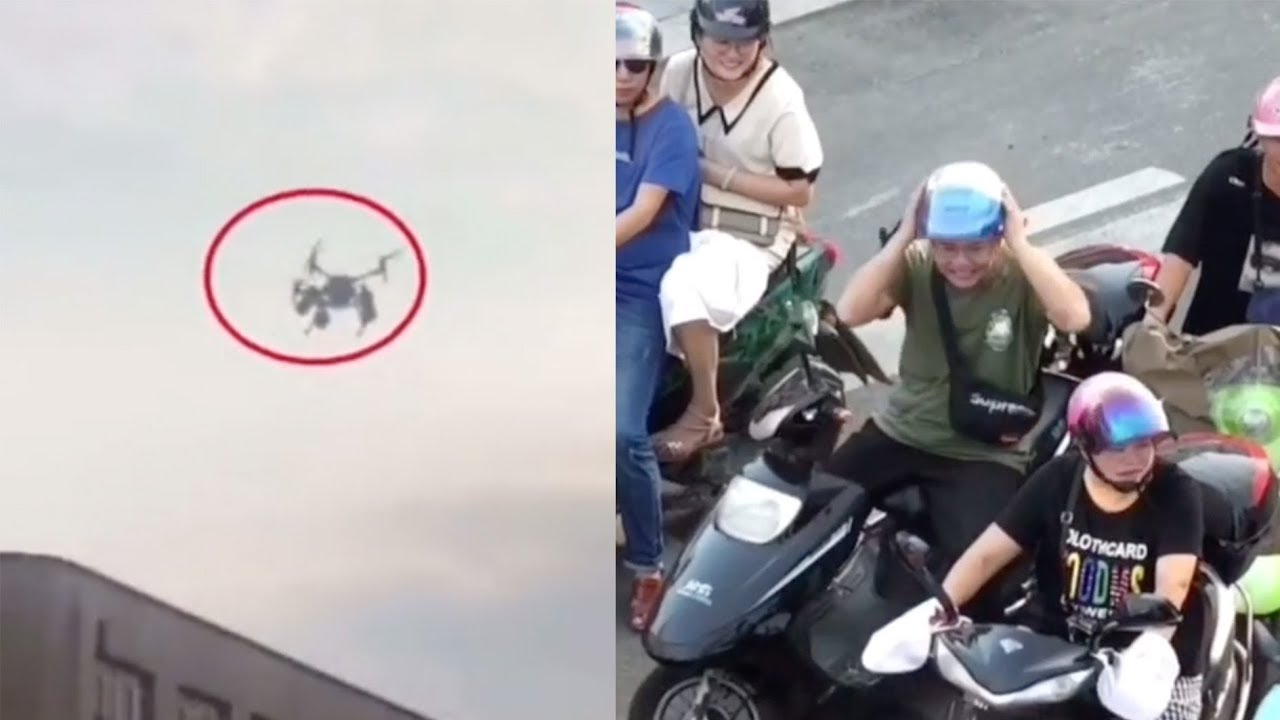 Traffic officer in China uses drones to give orders from above
