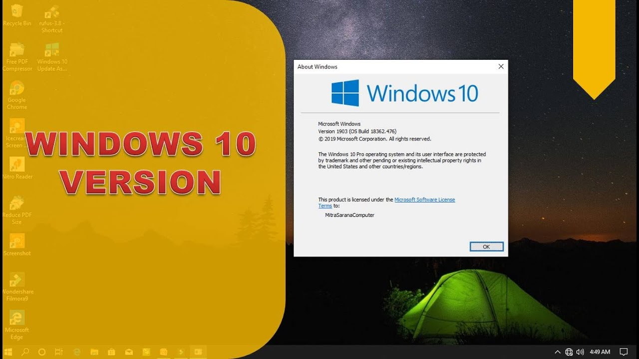 CARA MENGETAHUI WINDOWS VERSION DI WINDOWS 10 - YouTube