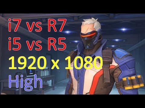 [1080p High] Overwatch i7-8700K vs Ryzen 2700X vs i5-8600K vs Ryzen 2600X