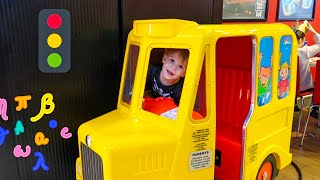 Yellow Wheels on the School Bus Song for Kids and Fun Day Ride on Giant Car Toys