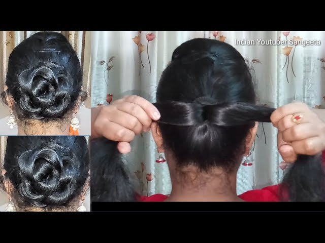Easy And Cute Bun Hairstyle For Wedding Party Hairstyles
