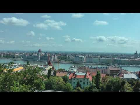 scenic HD view of Pest side of Budapest, Hungary from Fisherman's Bastion
