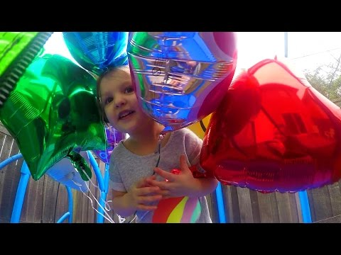 Learn Colors With Helium Balloons! | Have Fun On Trampoline And Learn Colors With Cora