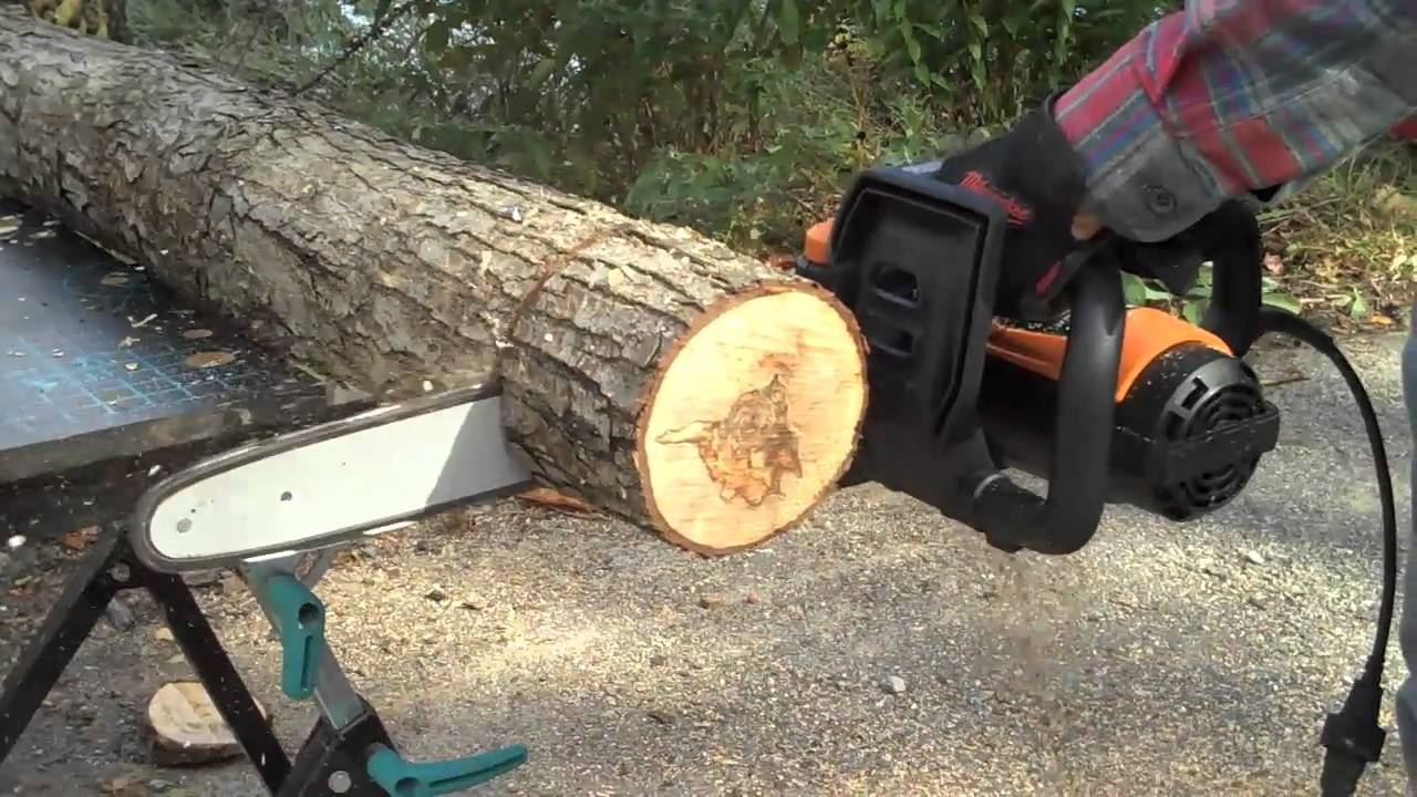 Electric chain saw vs gas powered chain saw youtube greentooth Images