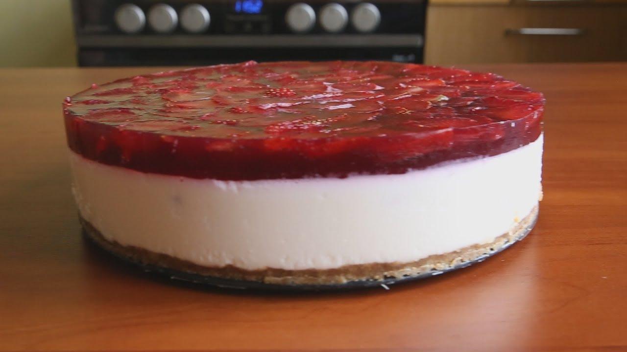 торт с клубникой сирним кремом и желе рецепт