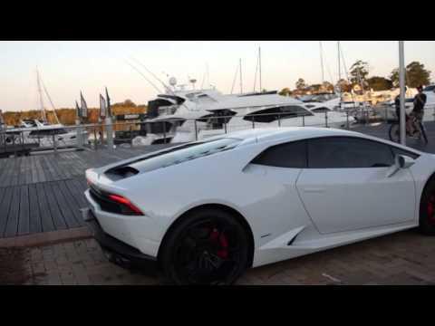 gorgeous white lamborghini huracan start up and revs leaving sanctuary cove last night - Lamborghini Huracan Matte White