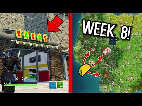 VISIT 3 DIFFERENT TACO SHOPS IN A SINGLE MATCH WEEK CHALLENGES 9! (Fortnite Battle Royale)