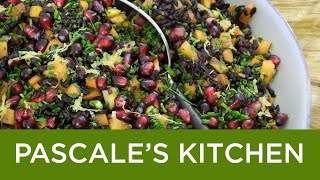 Forbidden Rice Salad. A black rice dish with pomegranates and persimmons.