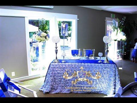 Faos events decoracion color azul royal y plata youtube - Decoraciones en color plata ...
