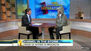 Hurricane Sandy Catches Jimmy Kimmel in NYC, Comedian Chats About Shooting in Brokolyn on 'GMA'