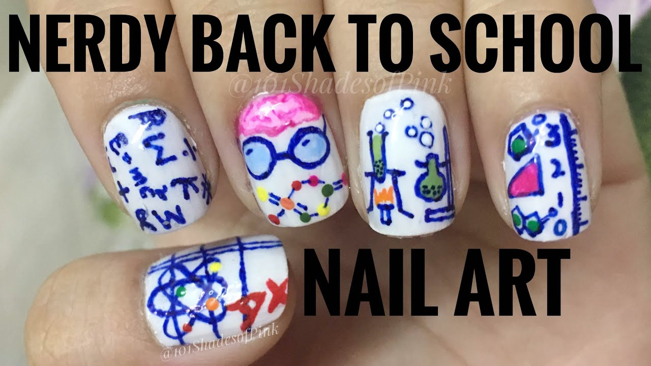 Nerdy Back to School Nail art with Sharpie/ Permanent marker - YouTube