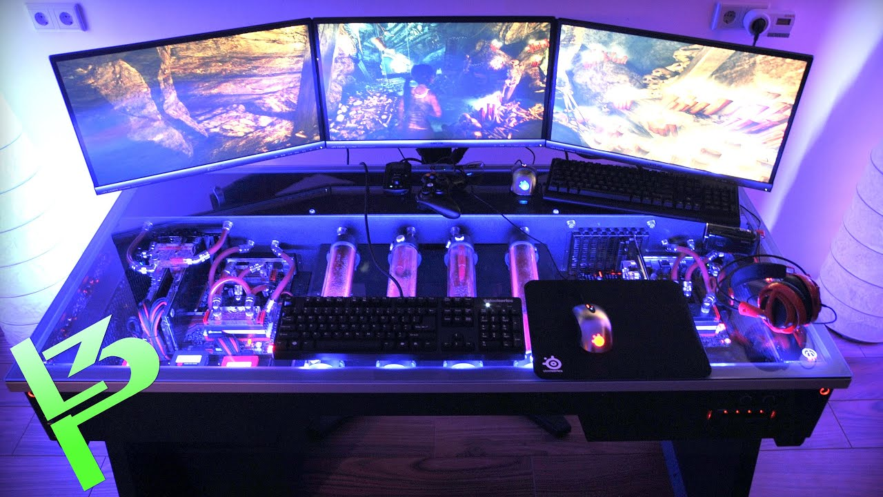 Epic Liquid Cooled Pc In A Desk Youtube