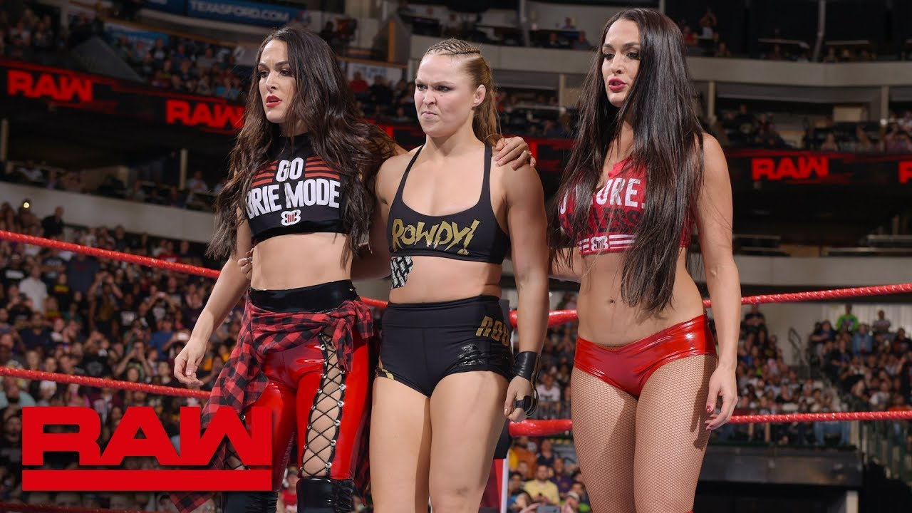 55be3ec2f Ronda Rousey & The Bella Twins fight off The Riott Squad: Raw, Sept ...
