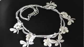 Antique Silver Butterfly and Flower Necklace Thumbnail