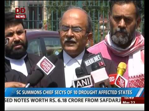 SC summons Chief secretaries of 10 drought affected states
