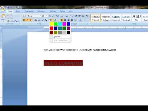 How To Use Format Painter In MS Word 2007 YouTube