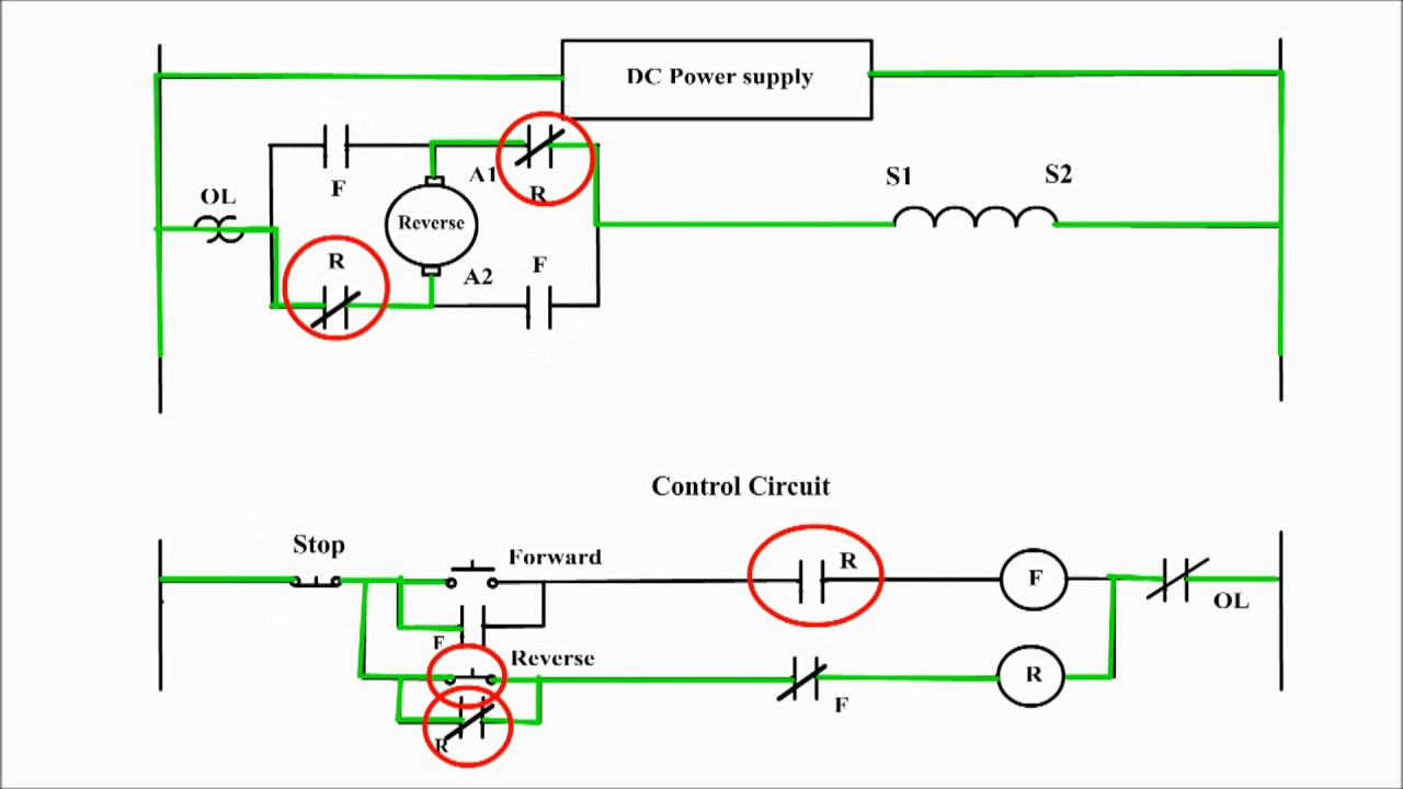 Reversing the direction of rotation of a dc compound motor for Forward reverse dc motor control circuit