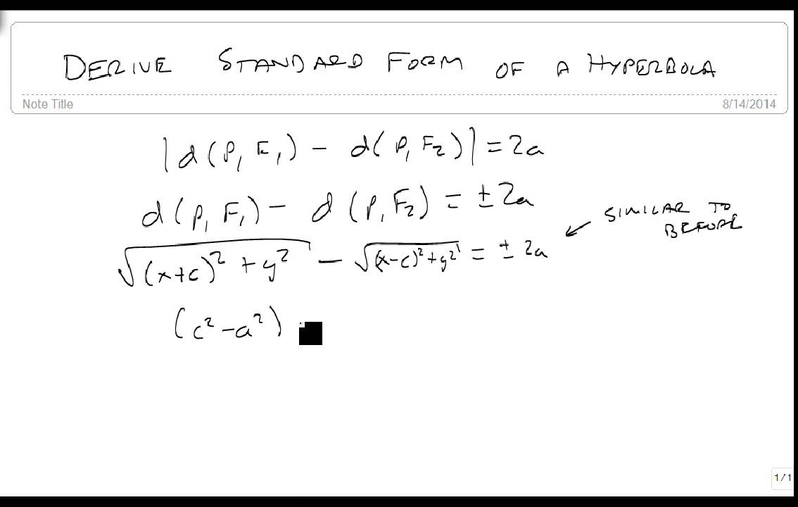Derive the standard form of a hyperbola youtube derive the standard form of a hyperbola falaconquin