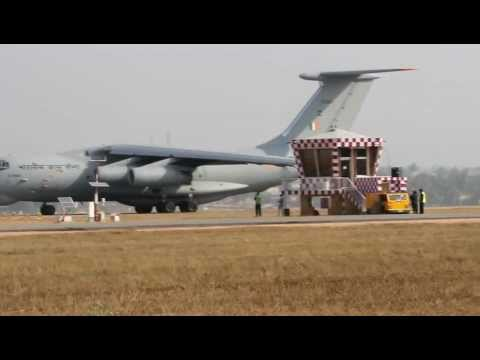 Indian Air Force Il-76 take-off from Yelahanka Air Force Station