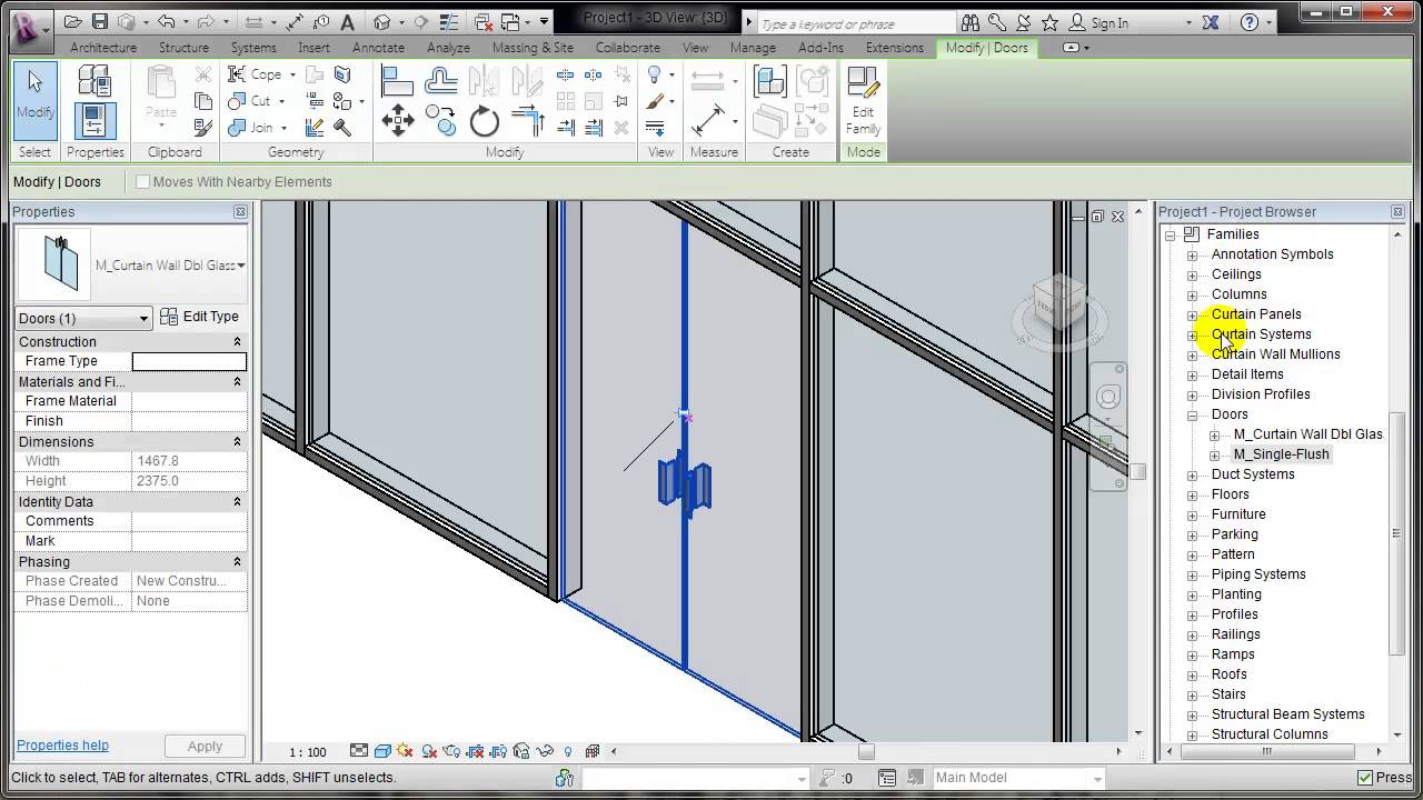 sc 1 st  YouTube & REVIT: Placing a door in a curtain wall - YouTube