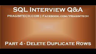 Part 4   Delete duplicate rows in sql