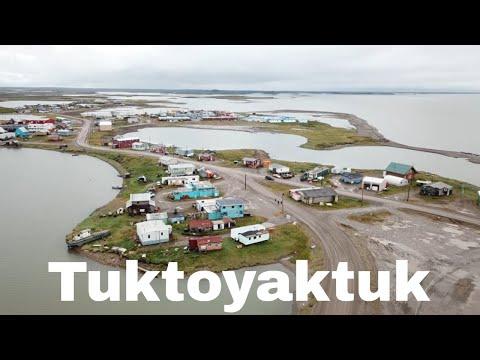 Drone Tuktoyaktuk, Northwest Territories, Canada   Arctic Ocean
