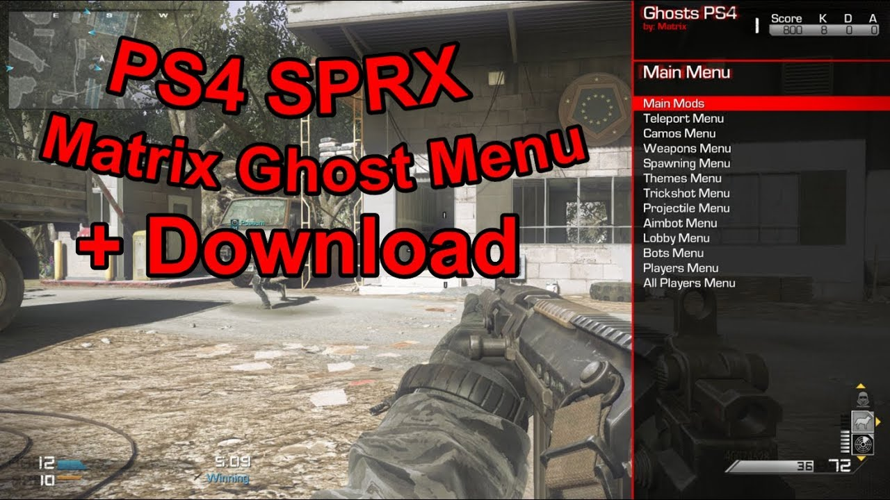 PS4 4 55 - SPRX GHOST MOD MENU! - Matrix Menu + Download