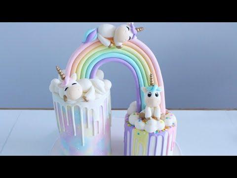 Pastel Rainbow Unicorn Baby Shower Cake Tutorial!