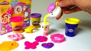play doh belle magical tea party playset disney princess beauty and the beast playdough