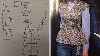 Основа выкройки платья за 15 минут/Выкройка блузы с запахом в стиле Кимоно часть 1