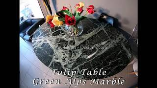 Video: 179 x 111 cm oval Tulip table - Green Alps marble