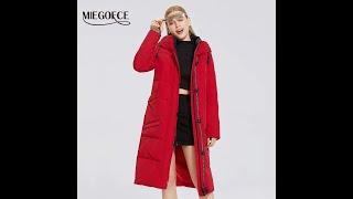 Miegofce 2020 зимняя новая женская хлопковая куртка средней длины синтепон простой стиль