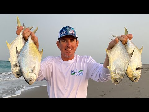 POMPANO ( Surf Fishing ) Catch Clean & Cook