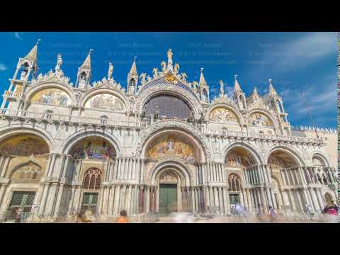 Basilica of St Mark timelapse hyperlapse. It is cathedral church of Roman Catholic Archdiocese of