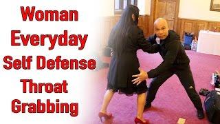 Woman Everyday Self Defense  - Throat Grabbing