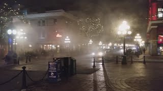 Vancouver WALK: AROUND GASTOWN THEN BACK TO WATERFRONT STATION Friday Evening With Light Fog