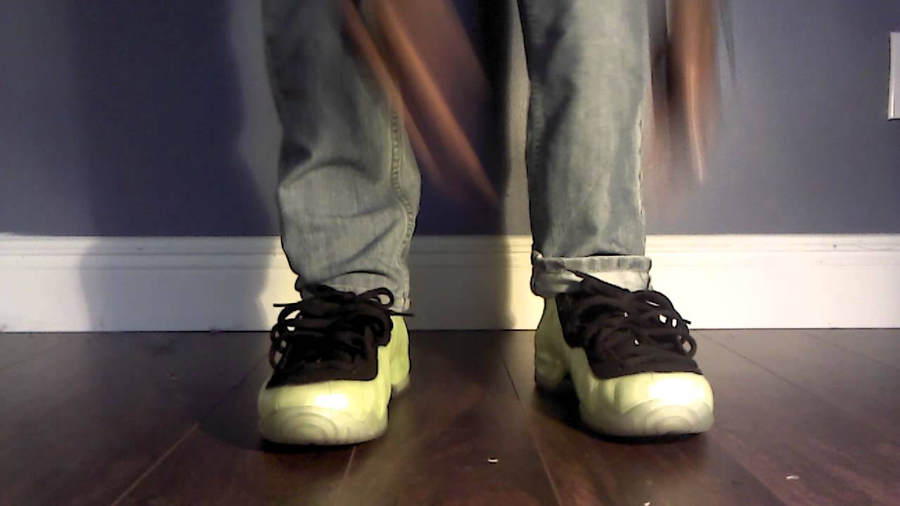 d9c813d95c6 Electric green foamposites on foot - YouTube