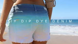 DIY Dip Dye Denim Shorts (Indigo/Aqua) Thumbnail