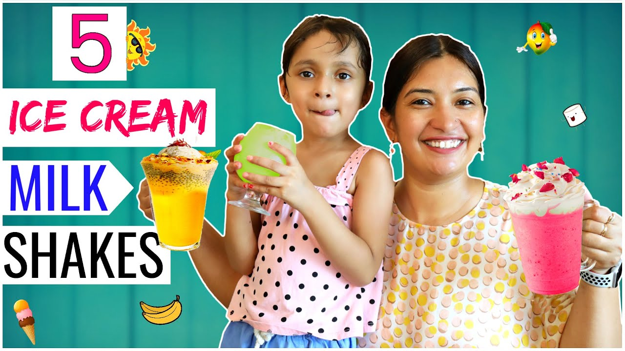 5 Easy ICE CREAM Milk Shake | Summer Drinks | CookWithNisha