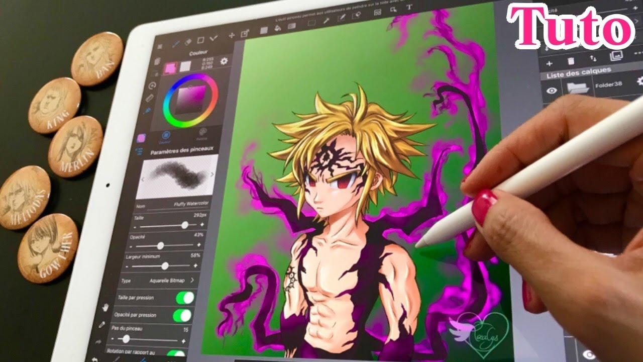 TUTO DESSIN COMMENTÉ Meliodas Seven deadly sins   Comment dessiner manga fan-art papier crayon ...