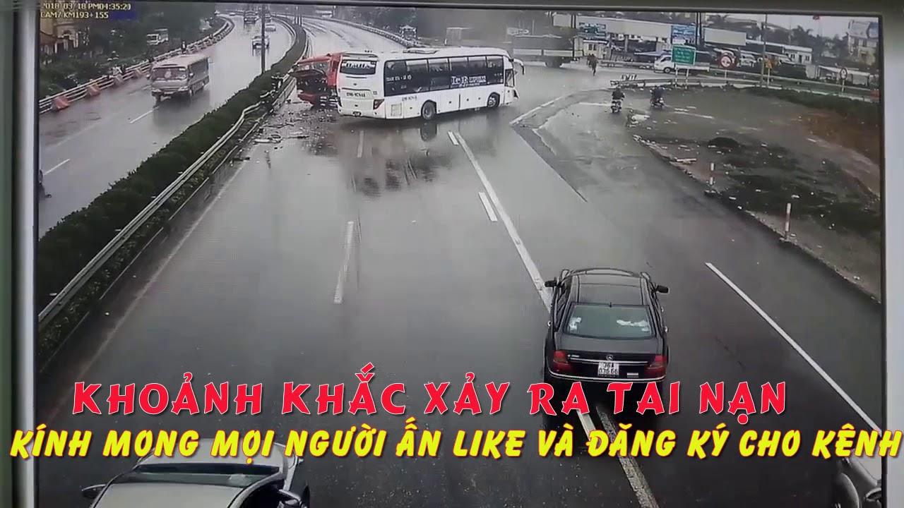Tổng hợp clip vụ xe khách đâm xe cứu hỏa- xe khách đâm xe pccc full