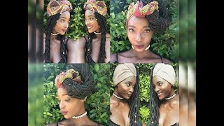 5 fresh ways to style long locs braids with african headwraps