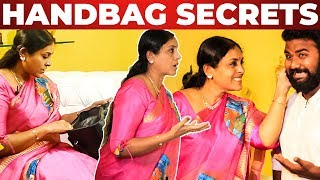 Saranya Ponvannan HANDBAG Secrets Revealed by VJ Ashiq | What's inisde the Handbag